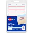 "Avery® Permanent File Folder Labels - Permanent Adhesive - 11/16"" Width x 3 7/16"" Length - Rectangle - Laser, Inkjet - Dark Red - 7 / Sheet - 252 / Pack"