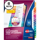 """Avery® Avery Ready Index 15 Tab Dividers, Customizable TOC, 6 Sets (11197) - 15 x Divider(s) - 1-15, Table of Contents - 15 Tab(s)/Set - 8.50"""" Divider Width x 11"""" Divider Length - 3 Hole Punched - White Paper Divider - Multicolor Paper Tab(s) - 6 / Pa"""