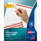 "Avery® Print & Apply Clear Label Dividers - Index Maker Easy Apply Label Strip - 8 x Divider(s) - 8 Blank Tab(s) - 8 Tab(s)/Set - 8.50"" Divider Width x 11"" Divider Length - Letter - 3 Hole Punched - White Paper Divider - White Tab(s) - 8 / Set"