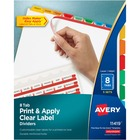 """Avery Index Maker Print & Apply Clear Label Dividers with Traditional Color Tabs - 40 x Divider(s) - Blank Tab(s) - 8 Tab(s)/Set - 8.50"""" Divider Width x 11"""" Divider Length - Letter - 3 Hole Punched - Multicolor Tab(s) - 5 / Pack"""