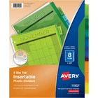 "Avery® Big Tab(TM) Insertable Plastic Dividers, 8-Tab Set, Multicolor (11901) - 8 - 8 Tab(s)/Set - 8.50"" Divider Width x 11"" Divider Length - 3 Hole Punched - Translucent Plastic, Multicolor Divider - Plastic Tab(s) - 1"