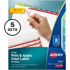 "Avery® Index Maker Print & Apply Clear Label Dividers with Contemporary Color Tabs - 40 x Divider(s) - Print-on Tab(s) - 8 Tab(s)/Set - 8.50"" Divider Width x 11"" Divider Length - Letter - 3 Hole Punched - White Paper Divider - Assorted Tab(s) - 5 / Pa"