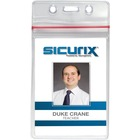 "SICURIX Sealable ID Badge Holder - Support 2.62"" (66.55 mm) x 3.75"" (95.25 mm) Media - Vertical - Vinyl - 50 / Pack - Clear"
