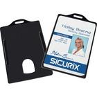 """SICURIX Vertical Black Frame ID Card Holder - 3.37"""" (85.60 mm) x 2.13"""" (53.98 mm) x - Plastic - 25 / Pack - Black"""