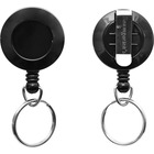 SICURIX ID Card Reel with Ring - Plastic - 1 Each - Black