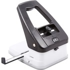 "Baumgartens Three-in-One Slot Hole Punch - 3 Punch Head(s) - 18 Sheet Capacity - 1/4"" Punch Size - Black, Ivory"