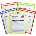 "C-Line Neon Colored Stitched Shop Ticket Holders - Support 9"" (228.60 mm) x 12"" (304.80 mm) Media - Vinyl - 25 / Box - Clear, Assorted"