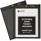 "C-Line Stitched Shop Ticket Holders with Black Backing - Letter - 8 1/2"" x 11"" Sheet Size - Pressboard - Clear, Black - 25 / Box"