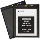 "C-Line Stitched Shop Ticket Holders with Black Backing - 9"" x 12"" Sheet Size - Pressboard - Clear, Black - 25 / Box"