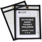 "C-Line Stitched Vinyl Shop Ticket Holders - Support 4"" (101.60 mm) x 6"" (152.40 mm) Media - Vinyl - 25 / Box - Clear, Black"