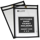 "C-Line Stitched Vinyl Shop Ticket Holders - Support 5"" (127 mm) x 8"" (203.20 mm) Media - Vinyl - 25 / Box - Black, Clear"
