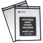 "C-Line Stitched Vinyl Shop Ticket Holders - Support 11"" (279.40 mm) x 14"" (355.60 mm) Media - Vinyl - 25 / Box - Black, Clear"
