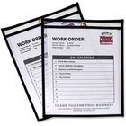 "C-Line Stitched Vinyl Shop Ticket Holders - Support 8.50"" (215.90 mm) x 11"" (279.40 mm) Media - Vinyl - 25 / Box - Black, Clear"