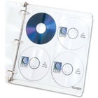 "C-Line CD/DVD Poly Insert Refill Pages - 10.3"" Height x 0"" Width x 10.3"" Depth - 8 x CD/DVD Capacity - 3 x Holes - Ring Binder - Clear - Polypropylene - 5 / Pack"