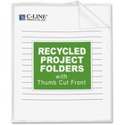 """C-Line Project Folders - Letter - 8 1/2"""" x 11"""" Sheet Size - Polypropylene - Clear - Recycled - 25 / Box"""