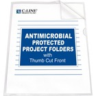 "C-Line Antimicrobial Project Folders - Letter - 8 1/2"" x 11"" Sheet Size - Polypropylene - Clear - 25 / Box"