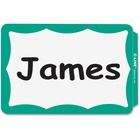 """C-Line Self-adhesive Color Border Name Badges - Removable Adhesive - 3 1/2"""" Width x 2 1/4"""" Length - Rectangle - Green - 100 / Box"""