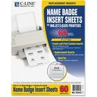 """C-Line Laser/Inkjet Badge Insert Refills - 4"""" Width x 3"""" Length - Rectangle - Laser, Inkjet - White - 6 / Sheet - 60 / Pack"""