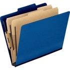 "Pendaflex Pressguard Classification Folders - Letter - 8 1/2"" x 11"" Sheet Size - 2"" Expansion - 4 Fastener(s) - 2"" Fastener Capacity for Folder, 1"" Fastener Capacity for Divider - 2/5 Tab Cut - 2 Divider(s) - 20 pt. Folder Thickness - Pressguard - Dark Bl"