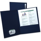 "Oxford Executive Twin Pocket Portfolios - Letter - 8 1/2"" x 11"" Sheet Size - 2 Internal Pocket(s) - Linen - Navy Blue - Recycled - 5 / Pack"
