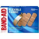 "Band-Aid Flexible Fabric Adhesive Bandages - 1"" (25.40 mm) - 100/Box - Beige"