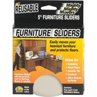"Mighty Mighty Movers Furniture Slider, Reusable, 5"" dia. - 0.4"" Thickness x 5"" Diameter - Polymer Plastic, Foam - Beige"