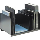 "MMF Adjustable Dividers Book Rack - 6 Compartment(s) - 8.9"" Height x 15"" Width x 11"" Depth - Desktop - Recycled - Black - Steel - 1Each"
