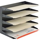 """MMF Horizontal Desk File Trays - 5 Compartment(s) - 5 Tier(s) - 12.1"""" Height x 15"""" Width x 8.8"""" Depth - Desktop, Wall Mountable, Partition-mountable - Recycled - Black - Steel - 1 / Each"""