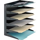 """MMF Horizontal Desk File Trays - 6 Compartment(s) - 6 Tier(s) - 14.8"""" Height x 12"""" Width x 8.8"""" Depth - Desktop - Recycled - Black - Steel - 1Each"""