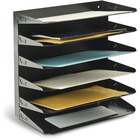 """MMF Horizontal Desk File Trays - 6 Compartment(s) - 6 Tier(s) - 14.8"""" Height x 15"""" Width x 8.8"""" Depth - Desktop, Wall Mountable, Partition-mountable - Recycled - Black - Steel - 1 / Each"""