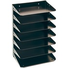 """MMF Horizontal Desk File Trays - 7 Compartment(s) - 7 Tier(s) - 17.5"""" Height x 12"""" Width x 8.8"""" Depth - Desktop - Recycled - Black - Steel - 1Each"""