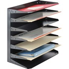 """MMF Horizontal Desk File Trays - 7 Compartment(s) - 7 Tier(s) - 17.8"""" Height x 15"""" Width x 8.8"""" Depth - Desktop, Wall Mountable, Partition-mountable - Recycled - Black - Steel - 1 / Each"""