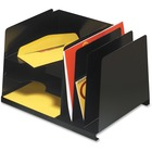 "MMF Horizontal/Vertical File Organizer - 6 Compartment(s) - 8.8"" Height x 15"" Width x 11"" Depth - Desktop - Recycled - Black - Steel - 1Each"