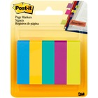"Post-it® Page Markers - 1/2""W - Bright Colors - 100 - 0.50"" x 2"" - Rectangle - Unruled - Assorted - Paper - Removable, Self-adhesive - 5 / Pack"