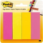 "Post-it® Page Markers - 50 x Grape, 50 x Fuschia, 50 x Yellow, 50 x Turquoise - 1"" x 3"" - Rectangle - Assorted - Removable, Self-adhesive - 4 / Pack"