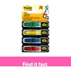 """Post-it® 1/2""""W Arrow Flags -Primary Colors - 4 Dispensers - 24 x Red, 24 x Green, 24 x Yellow, 24 x Blue - 0.50"""" x 1.75"""" - Arrow, Rectangle - Unruled - Blue, Green, Red, Yellow, Assorted - Removable, Self-adhesive, Repositionable - 96 / Pack"""