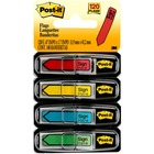 """Post-it® 1/2""""W Arrow Message Flags - 4 Dispensers - 30 x Yellow, 30 x Blue, 30 x Red, 30 x Green - 0.50"""" x 1.75"""" - Rectangle, Arrow - Unruled - """"SIGN HERE"""" - Blue, Green, Red, Yellow, Assorted - Removable, Self-adhesive - 120 / Pack"""