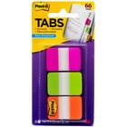 "Post-it® Durable Tabs - 1.50"" Tab Height x 1"" Tab Width - Removable - Pink, Green, Orange, Semi-transparent Tab(s) - 66 / Pack"