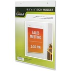 "NuDell Acrylic Sign Holders - Support 8.50"" (215.90 mm) x 11"" (279.40 mm) Media - Acrylic - 1 / Each - Clear"