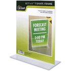 "NuDell T-shape Acrylic Frame Standing Sign Holder - Holds 8.50"" x 11"" Insert - 1 / Each - Acrylic - Clear"