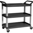 "Rubbermaid Commercial 3-Shelf Mobile Utility Cart - 3 Shelf - 136.08 kg Capacity - 4"" (101.60 mm) Caster Size - Aluminum - x 40.6"" Width x 20"" Depth x 37.8"" Height - Aluminum Frame - Black - 1 Each"