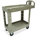 "Rubbermaid Commercial Two Shelf Service Cart - 2 Shelf - 226.80 kg Capacity - 4 Casters - 5"" (127 mm) Caster Size - x 39.5"" Width x 17.9"" Depth x 33.3"" Height - Beige - 1 Each"