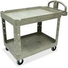 "Rubbermaid Commercial Two Shelf Service Cart - 2 Shelf - 226.80 kg Capacity - 4 Casters - 5"" (127 mm) Caster Size - Plastic - x 45.3"" Width x 25.8"" Depth x 33.3"" Height - Beige - 1 Each"
