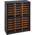 "Safco Value Sorter Literature Organizer - 550 x Sheet - 36 Compartment(s) - Compartment Size 2.50"" (63.50 mm) x 9.75"" (247.65 mm) x 12.50"" (317.50 mm) - 38"" Height x 32.3"" Width x 13.5"" Depth - Black - Steel, Fiberboard - 1 / Each"