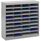 "Safco E-Z Stor Steel Literature Organizers - 750 x Sheet - 36 Compartment(s) - Compartment Size 3"" (76.20 mm) x 9"" (228.60 mm) x 12.25"" (311.15 mm) - 36.5"" Height x 37.5"" Width x 12.8"" Depth - Recycled - Gray - Steel, Fiberboard - 1Each"