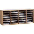 "Safco Adjustable Shelves Literature Organizers - 24 Compartment(s) - Compartment Size 2.50"" (63.50 mm) x 9"" (228.60 mm) x 11.50"" (292.10 mm) - 16.4"" Height x 39.4"" Width x 11.8"" Depth - Medium Oak - Wood - 1 / Each"
