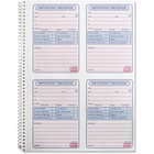 "Sparco 4CPP Carbonless Telephone Message Book - 200 Sheet(s) - Spiral Bound - 2 PartCarbonless Copy - 5.50"" x 3.88"" Form Size - 8 1/16"" x 11"" Sheet Size - White - Assorted Sheet(s) - Blue Print Color - 1 / Each"