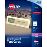 "Avery® Large Tent Cards, Uncoated, Embossed, Ivory, Two-Sided Printing, 3-1/2"" x 11"" 50 Cards (5915)"