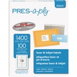 "Avery® PRES-a-ply® White Labels, 1-1/3"" x 4"" , Permanent-Adhesive, 14-up, 1400 labels"