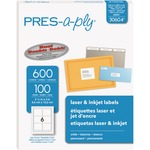 """PRES-a-ply White Labels, 3-1/3"""" x 4"""" , Permanent-Adhesive, 6-up, 600 labels"""
